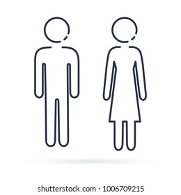 Man And Woman Icon Isolated Line Illustration Male Female Bathroom Signs Simple