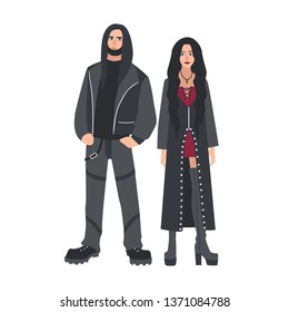 Man and woman with long loose hair dressed in black leather clothes isolated on white background. Counterculture or subculture of heavy metal music fans. Flat cartoon colorful illustration.