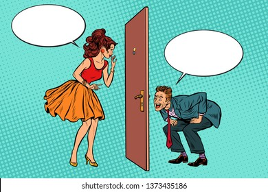man and woman looking through a door, peephole and keyhole. Voyeurism and privacy. Pop art retro  illustration