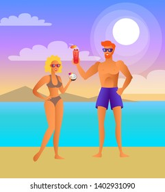 Man and woman on beach at night with cocktails. couple drinks beverage next to sea under moon. girl near guy summer vacation raster illustration.