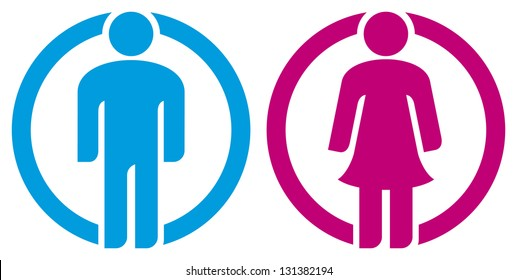 man & woman restroom sign (boy girl button wc icon, toilet symbol)