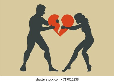 Man and woman. Silhouette of conflict between couple. Women break up with men