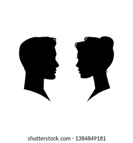 Man and woman silhouette face to face.  illustration