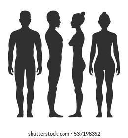 Man and woman silhouettes in front and side view. Illustration of body male and female illustration.