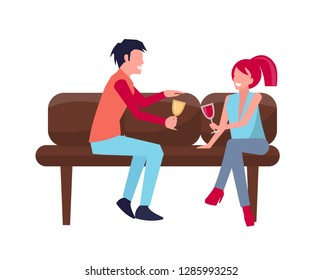 Man and woman sitting on sofa with glass of wine and champagne in their hand represented on raster illustration isolated on white