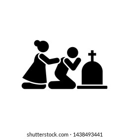 Man woman sorrow funeral dead icon. Element of pictogram death illustration