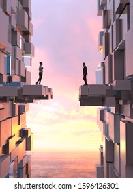 man and woman stand on opposite sides of the destroyed bridge, 3d illustration