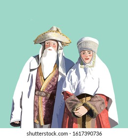 Man and woman in traditional Kazakh national clothes. Digital illustration.