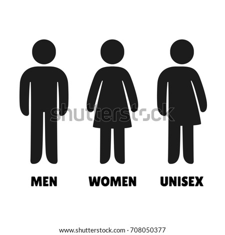 Man Woman Unisex Icons Male Female Stockillustration 708050377