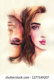 Ein Mann und eine Frau. Aquarellmalerei