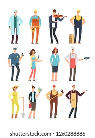Man and woman workers with tools in uniform. Cartoon characters of different professions isolated