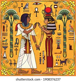 man and women wearing egyption cloths illustration