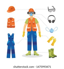 man worker in protective uniform and equipment icon. Professional clothing for work in contaminated areas, builders or at dirty manufacturing. Industrial safety wear on male character