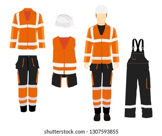 Man worker in uniform. Professional protective clothes, boots and yellow safety helmet. Various turns man's figure. Front view, side and back view.