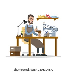 Man working in the shoe repair service. Cobbler sitting at the desk and repair boots with special equipment. Isolated  flat illustration