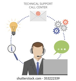 Man working in technical support call center, flat style