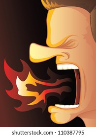 Man Yelling with Hot Fire Burning His Mouth