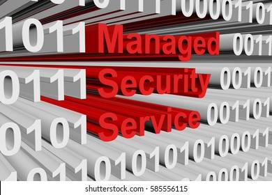 managed security service in the form of binary code, 3D illustration