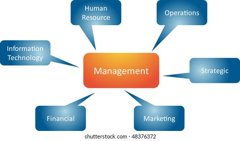 Management branches business strategy concept mind map diagram illustration