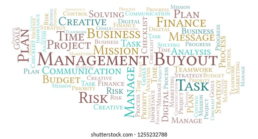 Management Buyout word cloud, made with text only.