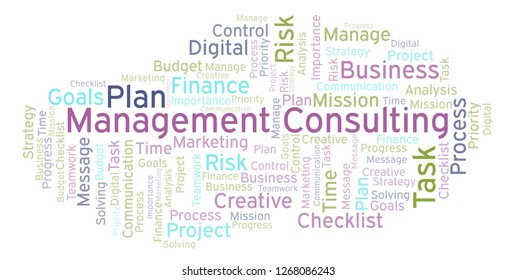 Management Consulting word cloud, made with text only.