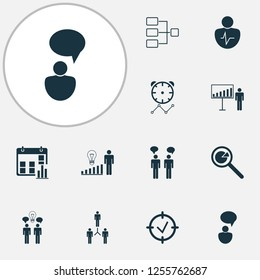 Management icons set with personality traits, statistic research, connection network and other approved target elements. Isolated  illustration management icons.