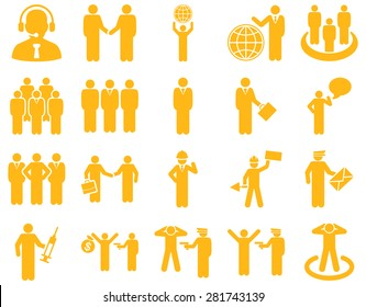 Management and people occupation icon set. These flat symbols use yellow color. Clipart images are isolated on a white background. Angles are rounded.