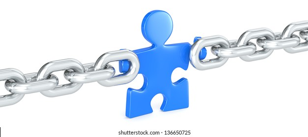 Management. Puzzle people holding Chain Link. Blue.