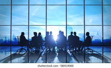 Management Team in office silhouette 3d rendered