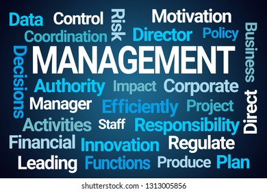 Management Word Cloud on Blue Background