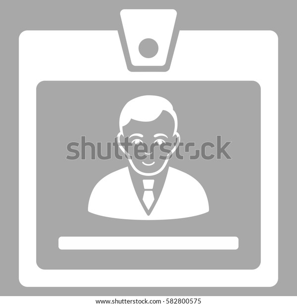 Manager Badge glyph icon. Flat white symbol. Pictogram is isolated on a silver background. Designed for web and software interfaces.
