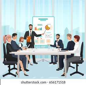 A manager businessman leading the presentation during the meeting in office  illustration.
