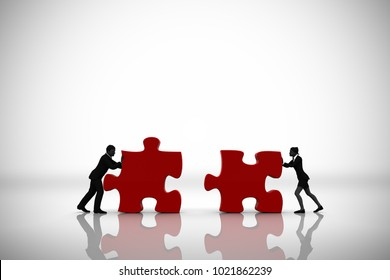 Manager Team pushing jigsaw puzzle pieces as 3d rendering. Two manager executives pushing huge jigsaw puzzle pieces into position demonstrate teamwork.