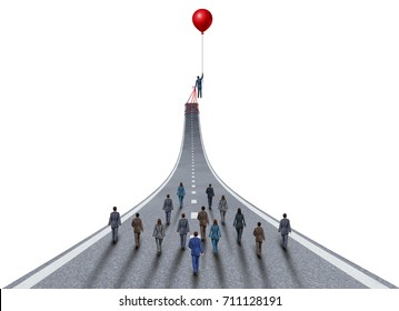 Managing business success ambitions concept as a management and team manager symbol as a businessman lifting a road up with a balloon as a leadership metaphor  3D illustration