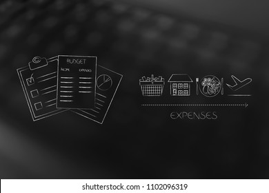 managing your budget conceptual illustration: budgeting documents next to expenses licons ike housing food holidays and shopping