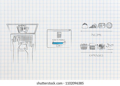 managing your budget conceptual illustration: laptop with documents and budgeting in progress pop-up next to different income icons versus expenses