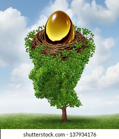 Managing your nest egg as a financial concept with a growing green tree in the shape of a human head supporting a nested investment for future retirement fund as a 401 K plan.