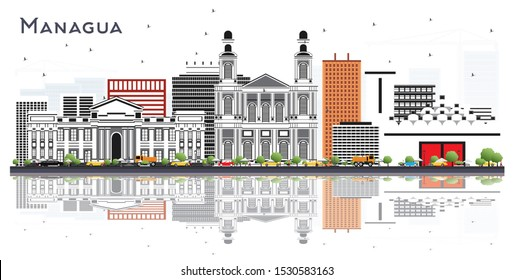 Managua Nicaragua Skyline with Gray Buildings and Reflections Isolated on White. Business Travel and Tourism Concept with Modern Architecture. Managua Cityscape with Landmarks.