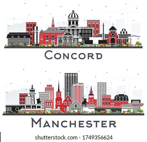 Manchester and Concord New Hampshire City Skylines Set with Gray Buildings Isolated on White. Historic and Modern Architecture. Cityscapes with Landmarks.