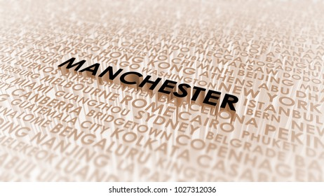 Manchester lettering, 3d illustration of world's cities.