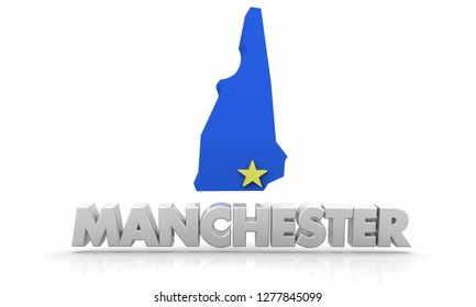 Manchester New Hampshire NH City State Map 3d Illustration