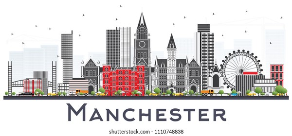 Manchester Skyline with Gray Buildings Isolated on White. Business Travel and Tourism Concept with Modern Architecture. Manchester Cityscape with Landmarks.