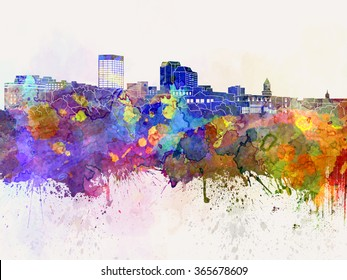 Manchester skyline in watercolor background