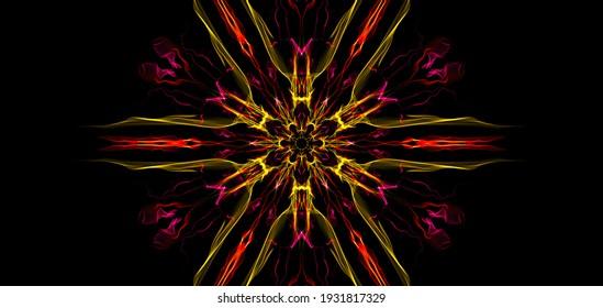 mandala 3D illustration psychedelic space fractal flower