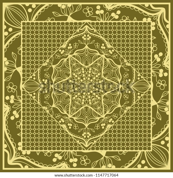mandala background, geometric pattern with ornate lace frame.   illustration. for Scarf Print, Fabric, Covers, Scrapbooking, Bandana, Pareo, Shawl,