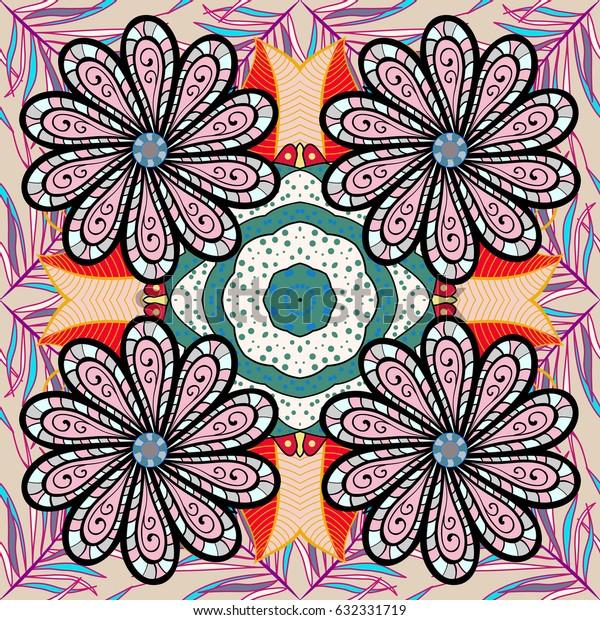 Mandala colored background. Mandala pattern on red background. Arabic Vintage decorative ornament. East, Islam.