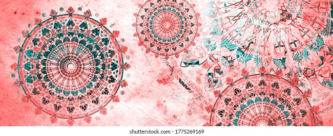 mandala colorful vintage art, ancient Indian vedic background design, old painting texture with multiple mathematical shapes, grunge effect
