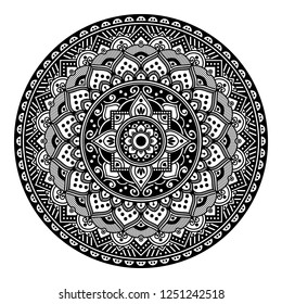 Mandala for coloring book, decorative round ornament. Hand drawn background. Can be used for coloring book, greeting card, phone case, etc.