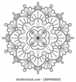 mandala Coloring book. design wallpaper. tile pattern. paint shirt, greeting card, sticker, lace pattern and tattoo. decoration interior design. hand drawn illustration. white background