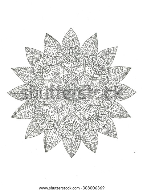 Mandala coloring page ink line art illustration